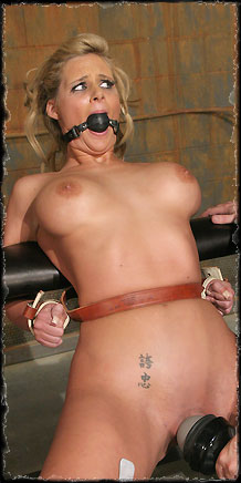 Chesty blonde restrained with zip ties amp gagged